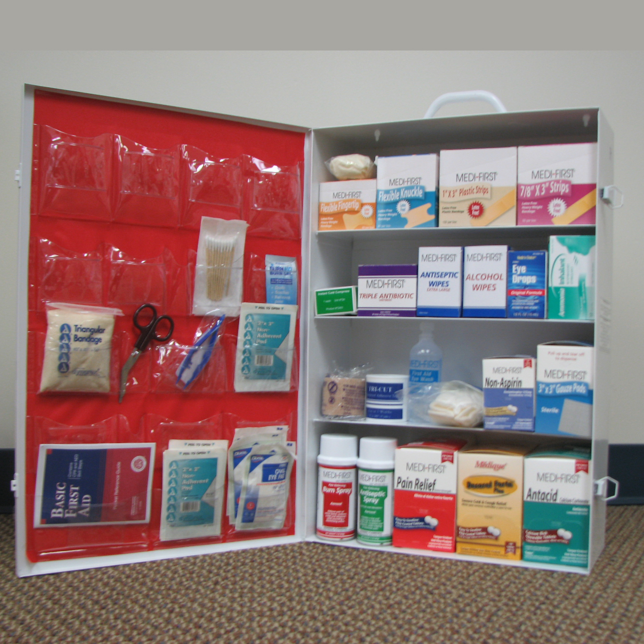 MEDIQUE First Aid Cabinet , 4 Shelf Industrial